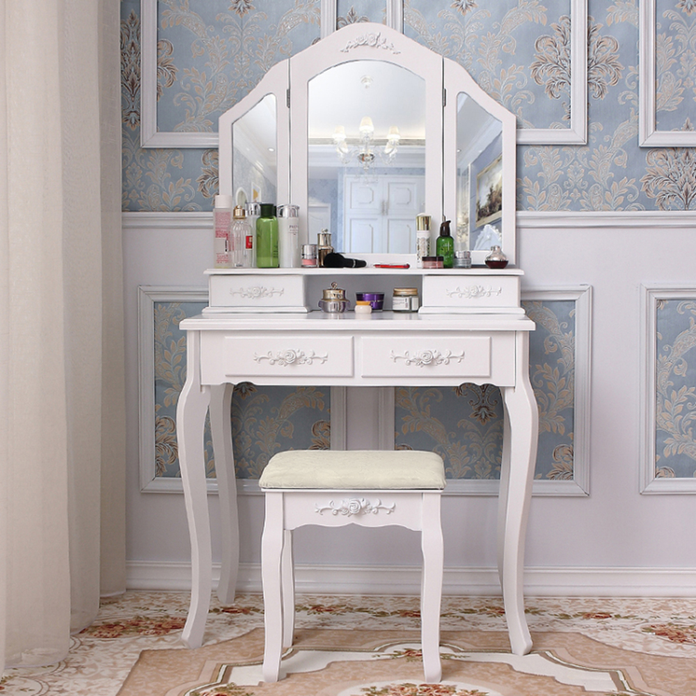 Panana Girls Princess Bedroom Dressing Table Stool Mirror Home Furnitures Mother & Daughter Dressing Table