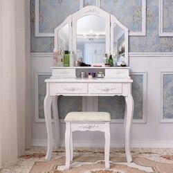Panana niñas princesa dormitorio tocador taburete espejo muebles del hogar madre e hija tocador blanco envío a Europa