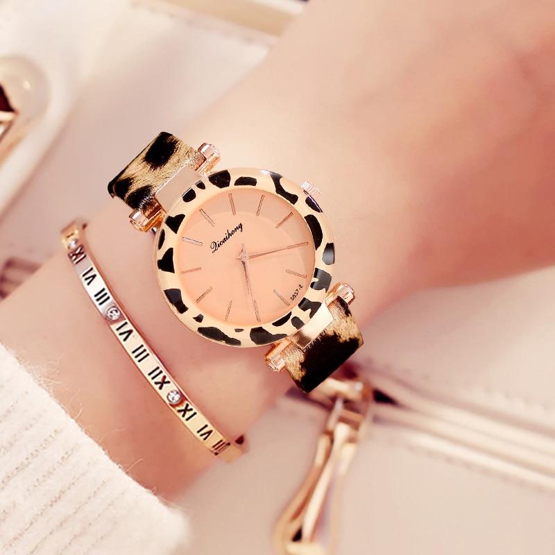 Fashion Women Watches Cheap Leopard Print Leather Ladies Bracelet Watch Casual Quartz Wristwatches Clock Relogio Feminino