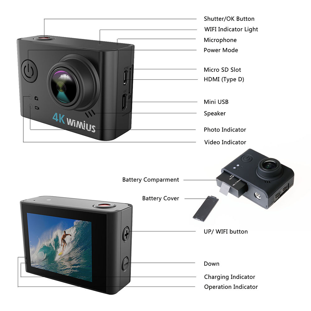 WIMIUS Ultra HD 4K Спортивная экшн- 60 кадров в секунду 30 м Водонепроницаемая Экшн- для дайвинга s 16 МП велосипедная камера 170D записывающая видео виде...