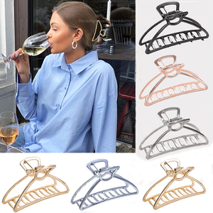 Women Girls Geometric Hair Claw Clip Clamps Metal Hair Crab Moon Shape Hair Clip Hairpin Large Size Hair Accessories Gifts