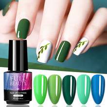 7mL Nail art Gel Lack UV LED Gel Grün Blau Farbe Primer Top Basis Coat Soak Off Polygel Gel für Maniküre Dekorationen LA1571-4(China)