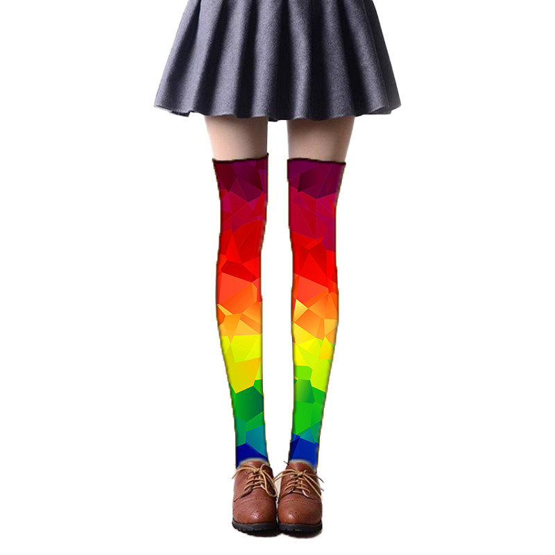 Ladies Over The Knee Socks Women Stockings Cute Thigh High Mixed Colored Rainbow 3D Printed Long Stockings For Girls 5SW36