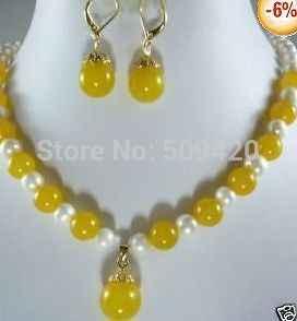 Commercio All'ingrosso Libero di trasporto>>> JJ6549 Genuino giallo di pietra del pendente della perla/collana orecchino set