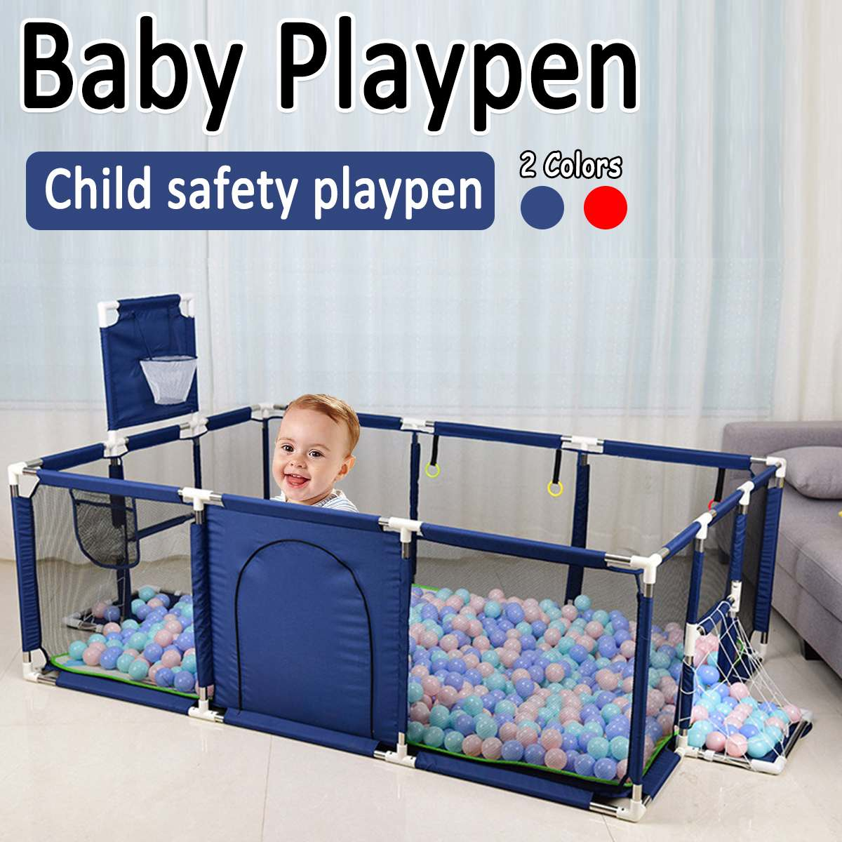 Large Size <font><b>Children</b></font> Cloth Playpen With Basketball Stands Baby Game Tent Infant Toddler Ocean Balls Pool Pit Kids Sport Toys image