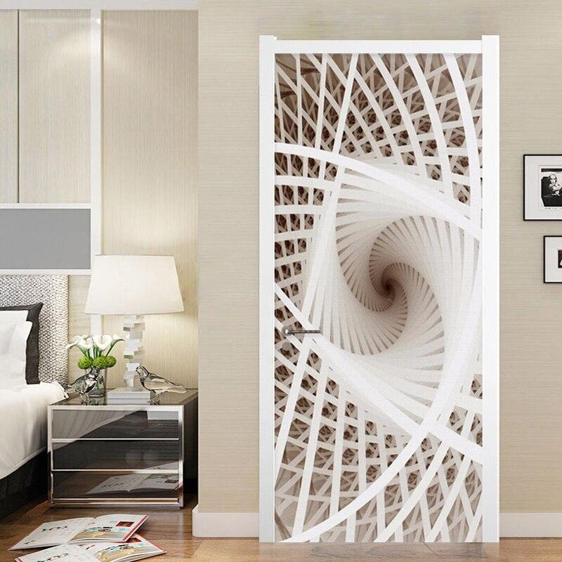 Moderne Creatieve Lijn Deur Sticker 3D Art Mural Behang Woonkamer Studie Home Decor Muursticker Deur Poster 3D Zelf -lijm