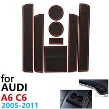 Противоскользящие резиновые чашки подушки двери паз коврик для Audi A6 C6 4F RS6 S6 S линия RS 6 2005~ 2011 2007 2010 аксессуары коврик для телефона
