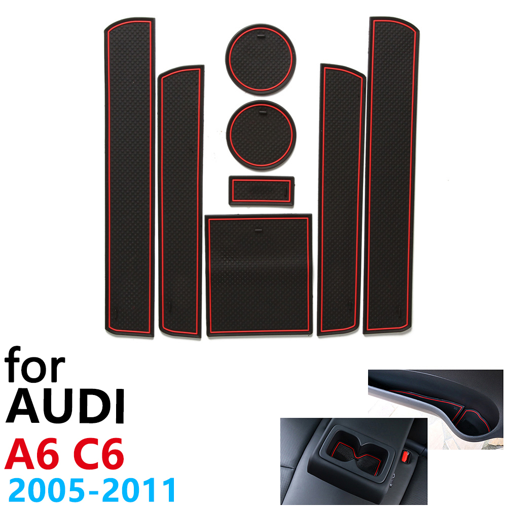 Anti Slip Rubber Cup Cushion Door Groove Mat for Audi A6 C6 4F RS6 S6 S line RS 6 2005~2011 2007 2010 Accessories mat for phone|Car Stickers| |  - title=