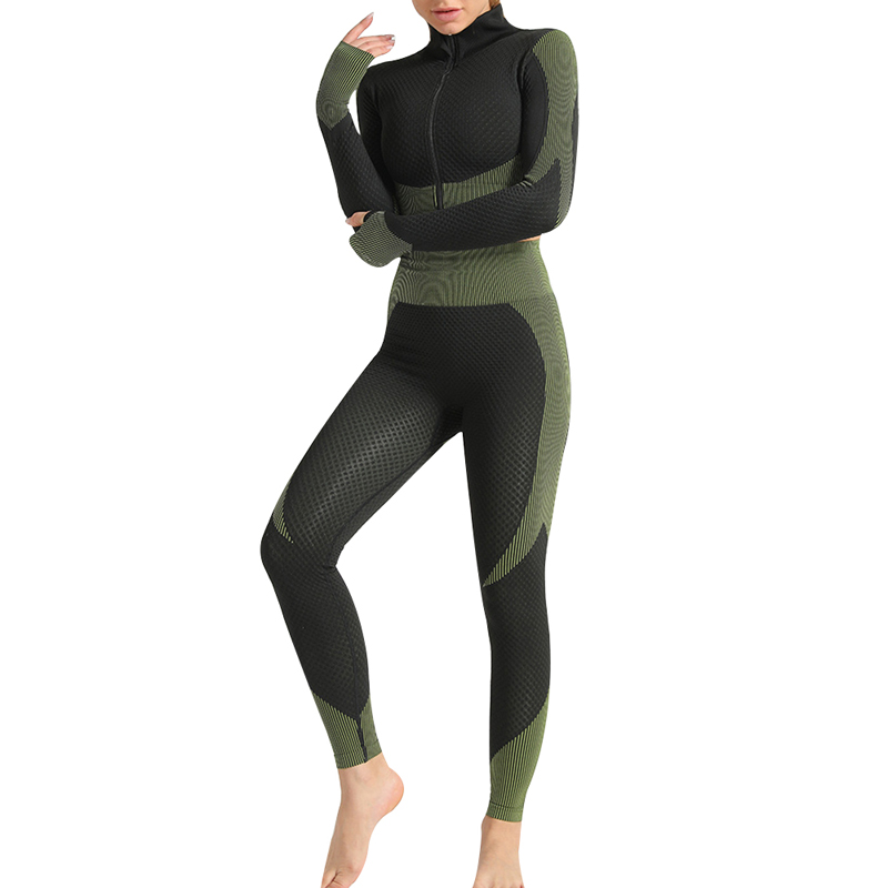 Women Seamless Running Tracksuit 2020 Sport Yoga Fitness Suit Sportswear Clothes Workout Leggings Gym Crop Top Yoga Pants Set image