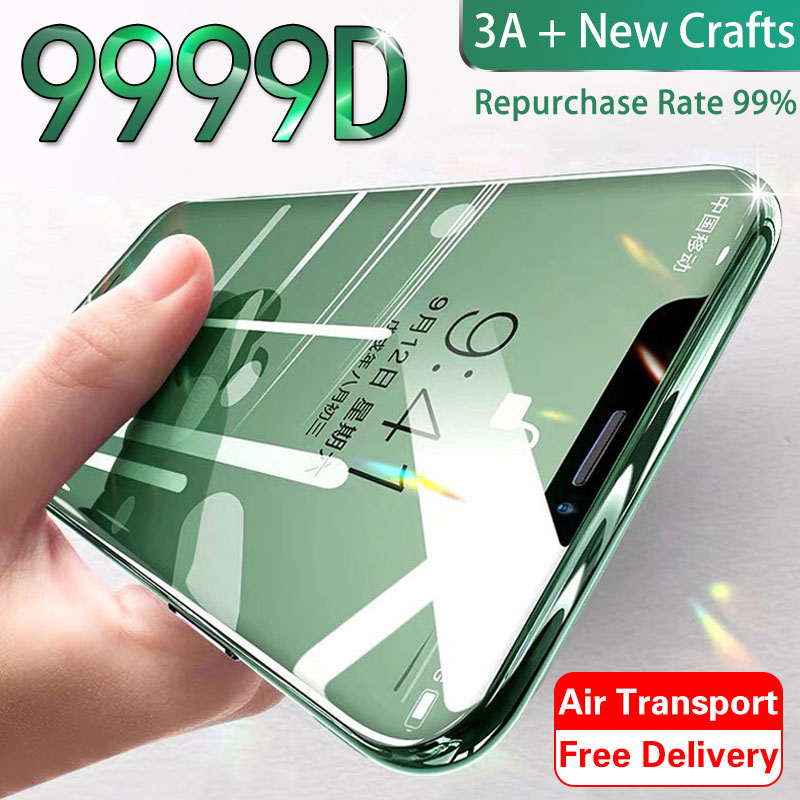 9999D Protective Glass On The For IPhone X XS Max XR Tempered Screen Protector Curved Glass For 11 Pro Max XR 10 Full Cover Film
