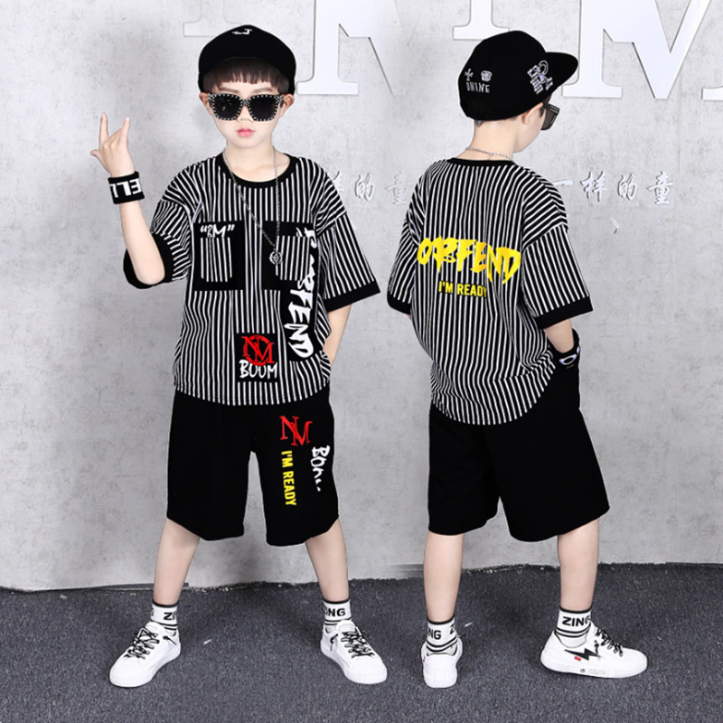 Big Boy Short Sleeve Striped T Shirt + shorts 2pc Sport Sets Summer Children's Clothing Kids New Summer Boys Clothes Suits 3-13Y
