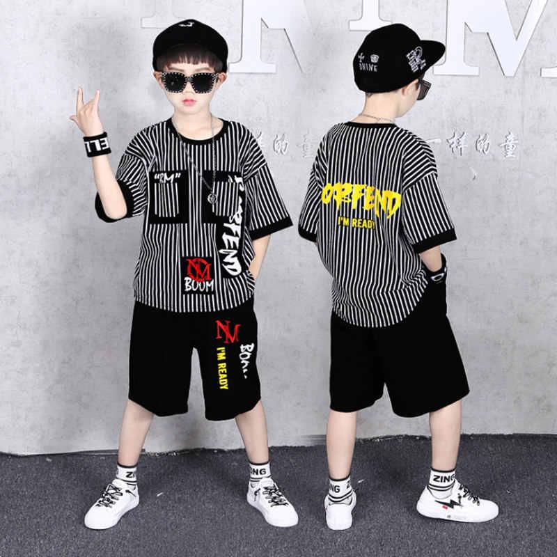 Grote Jongen Korte Mouwen Gestreept T-shirt + Shorts 2 Pc Sport Sets Zomer Kinderkleding Kinderen Nieuwe Zomer jongens Kleding Past 3-13Y