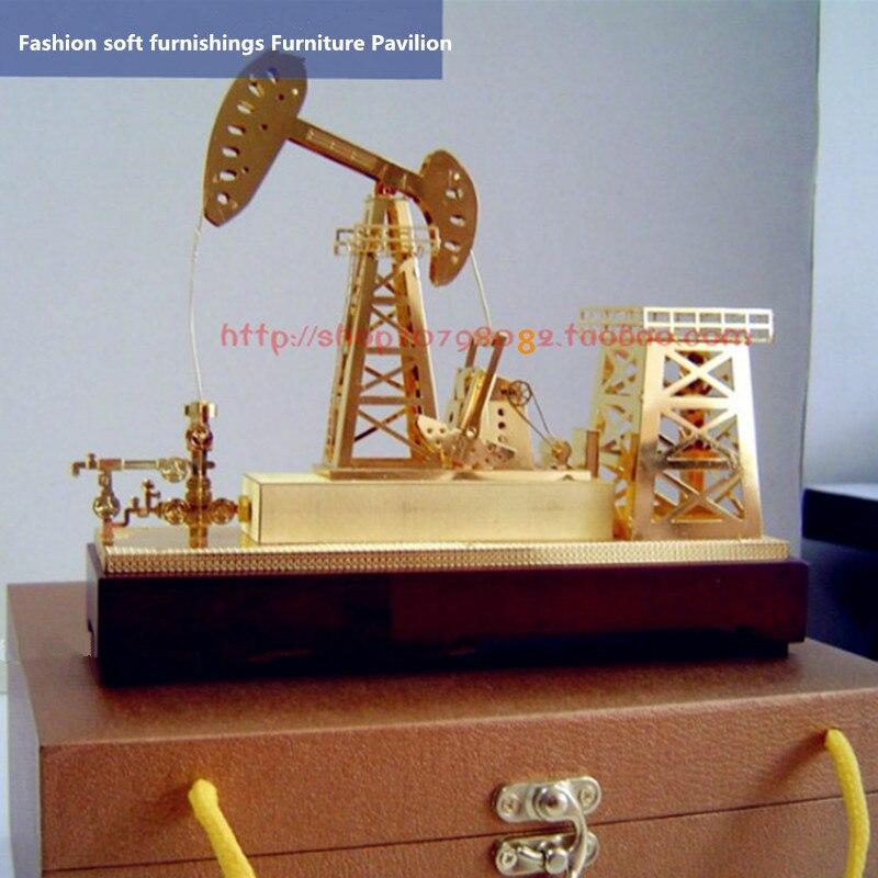 Pure Copper Gold Plated Pen Pumping Unit Model Office Hoe Machine Ornaments Oil Production Machine Static Model