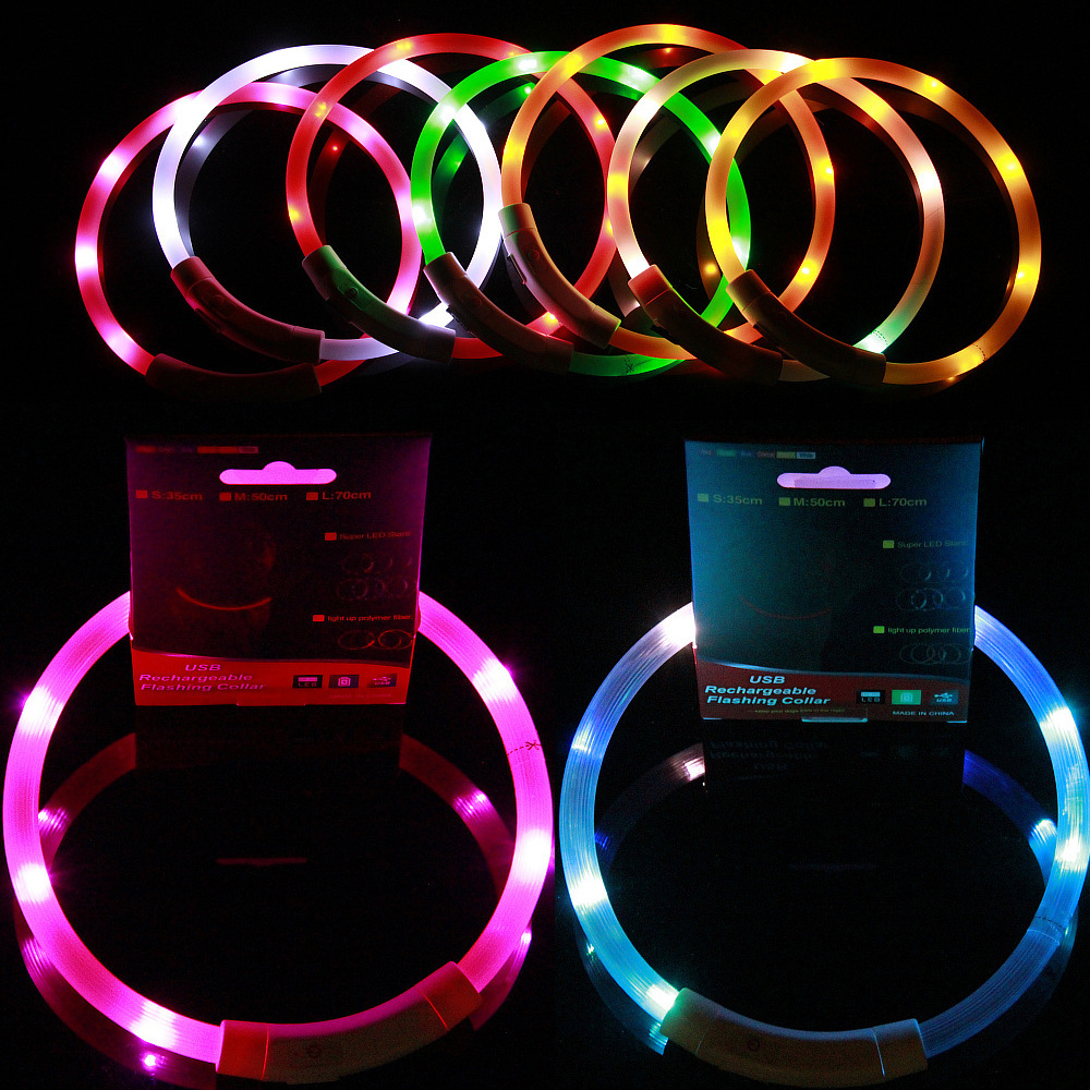 USB Shining Pet Dog Collar LED Charging Shiny Dog Collar Bite-proof Protector Order