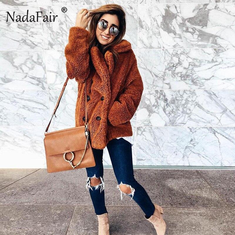 Nadafair plus size fleece faux fur jacket coat women winter pockets thicken teddy coat female plush overcoat casual outerwear 5