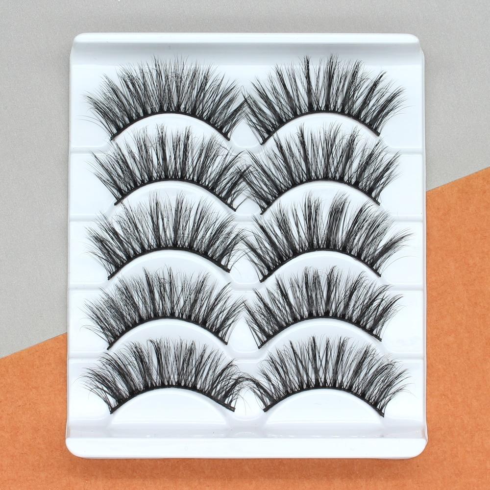 5Pairs 3D Mink Hair False Eyelashes Extension Natural Thick Long Fake Eye Lashes Wispy Women Makeup Beauty Tools