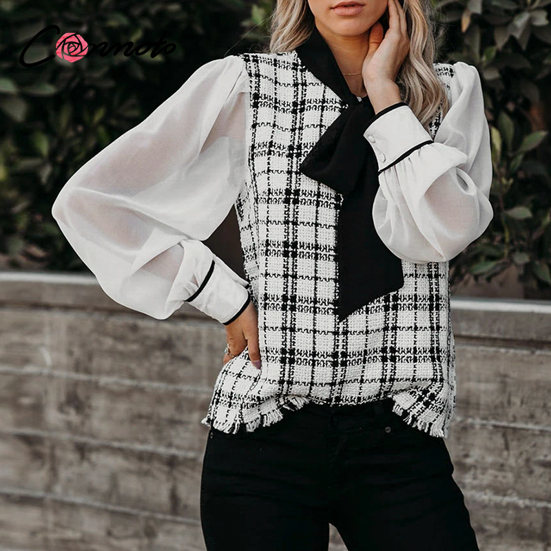 Conmoto Spring Summer 2020 Chiffon Casual Blouses Women Tweed Patchwork Bow Blouse Shirts High Fashion Vintage See Through Tops