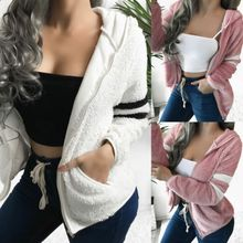 Autumn Winter Fashion Women's Cardigan Long Sleeve Hooded To