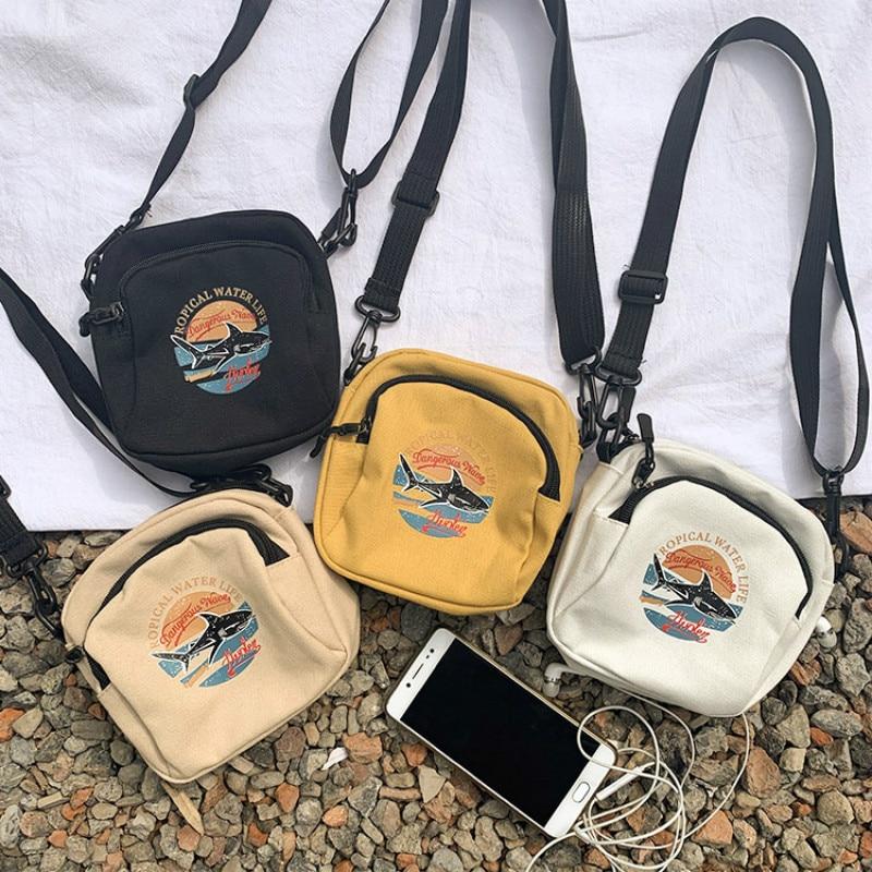 Women Canvas Handbags Korean Mini Student Bag Cell Phone Bags Simple Small Crossbody Bags Casual Ladies Flap Shoulder Bag