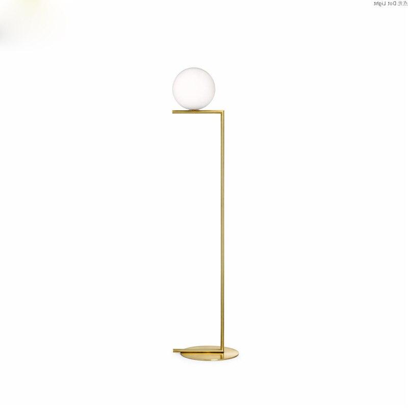 Lampadaire boule Led moderne lampadaire luxe glod lampadaire verre blanc lampe sur pied salon chevet Deco éclairage sur pied - 2