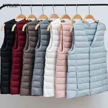 FTLZZ Women Vest Thin Down Coat Women 90% Ultra Light White Duck Down Jacket V Collar Or O Collar Sleeveless Coat 1