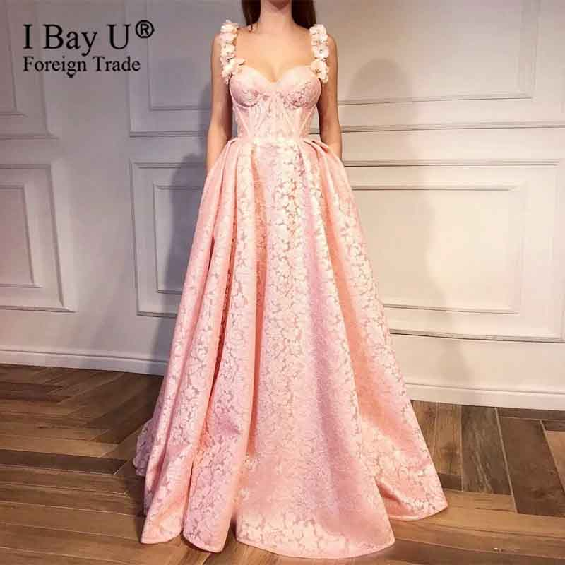 Pink Muslim Formal Evening Dresses 2020 A-line Sweetheart 3D Lace Flowers Beaded Islamic Dubai Saudi Arabia Long Evening Gown