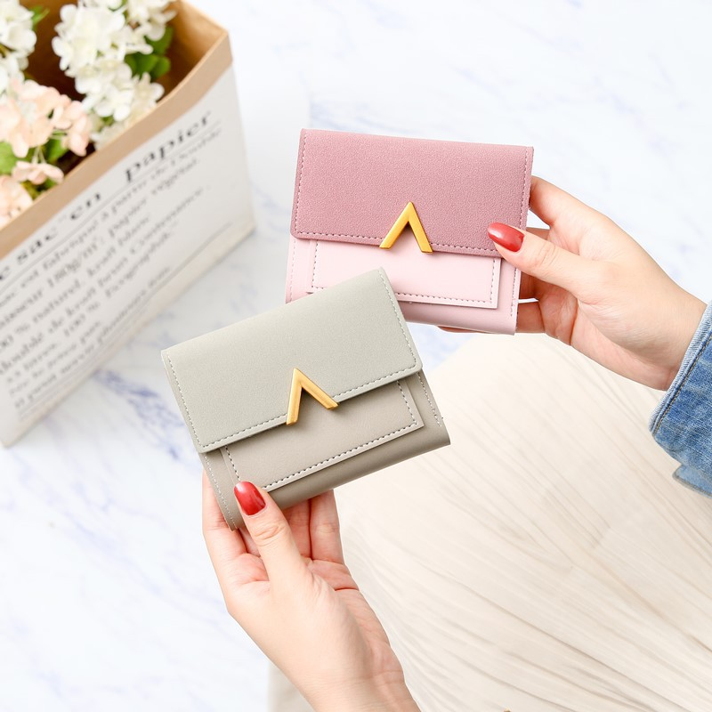 2019 Women Slim Wallet Metal V-word Decorative Matte Retro Short Wallets And Purse Small Pu Leather Money Change Bags Purse