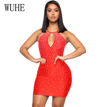 WUHE Sexy Women Bling Shiny Diamonds Lady Bandage Sleeveless Dress Bodycon Femme Hollow Out Party Cocktail Club Short