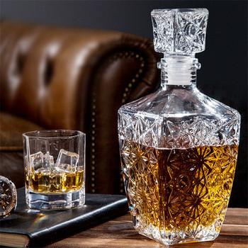 Kreatywne przezroczyste szkło Whiskey wino napoje karafka butelka kryształowa wino karafka butelka wina whisky karafka prezent tanie i dobre opinie CN (pochodzenie) SQUARE CE UE Lfgb Przezroczysty Ekologiczne Na stanie
