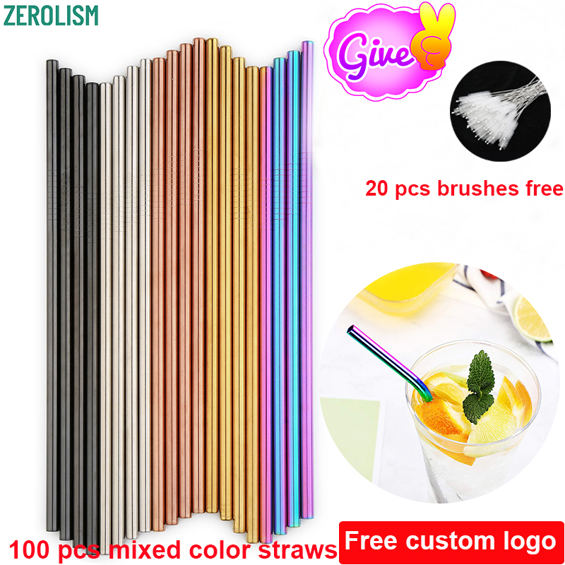 Wholesale 100 Pcs/lot Metal Straws Set Colorful Reusable Stainless Steel Tubes E-co Friendly Drinking Straws For 20/30 oz Mugs