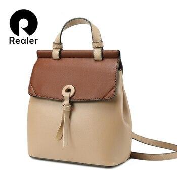REALER women backpack small spilt leather for school teenager girls panelled shoulder bag - discount item  61% OFF Women's Handbags