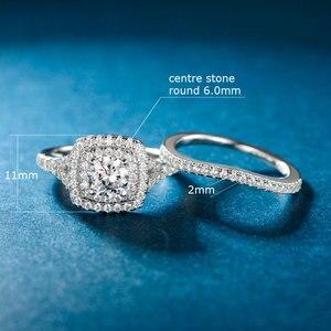 Image 4 - TKJ JEWELRY Fashion Set Rings With Big White Shiny Cubic Zircon 925 Silver 6.0mm 2pcs Wedding Ring Set for Women Gift