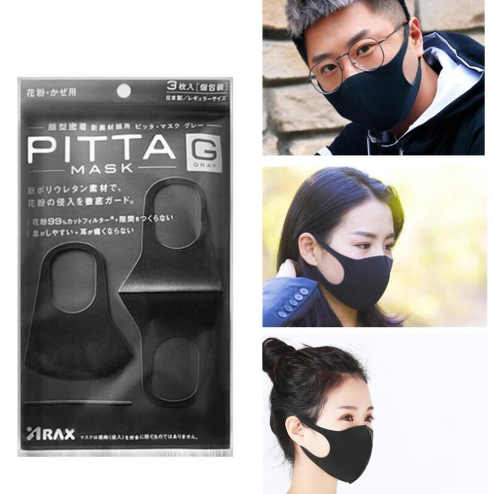 DishyKooker 3Pcs Summer Solid Color Lug Style Sponge Mask Anti-dust Anti-haze Pm2.5