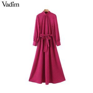 Image 1 - Vadim frauen chic tupfen lange kleid langarm fliege schärpen weibliche büro tragen stilvolle chic kleider vestidos QD132