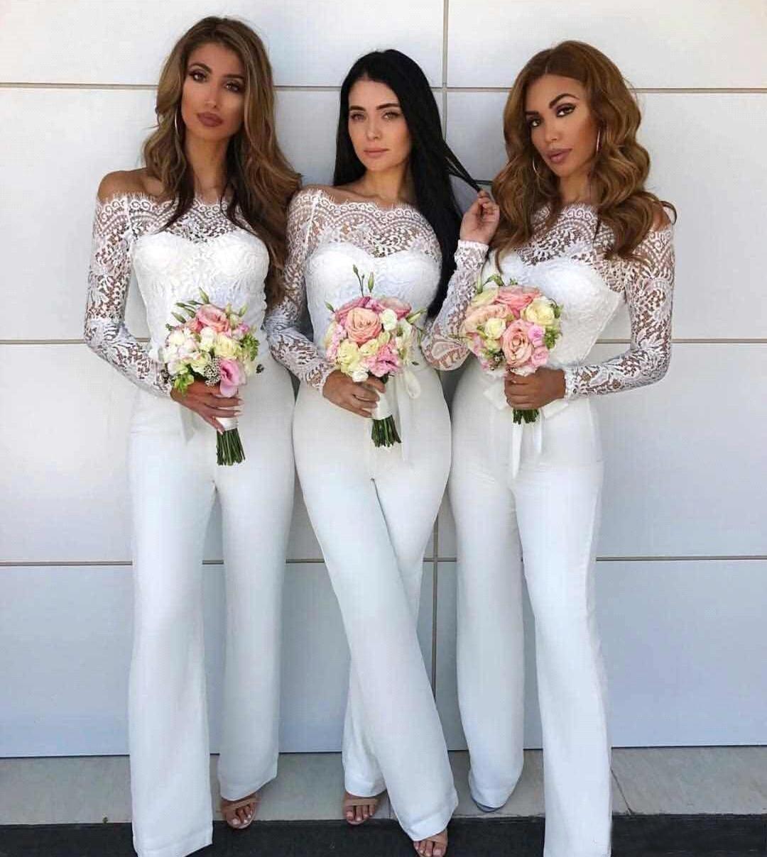 Off Shoulder Lace Jumpsuit Bridesmaid Dresses For Wedding 2020 Sheath Backless Wedding Guest Pants Suit Gowns