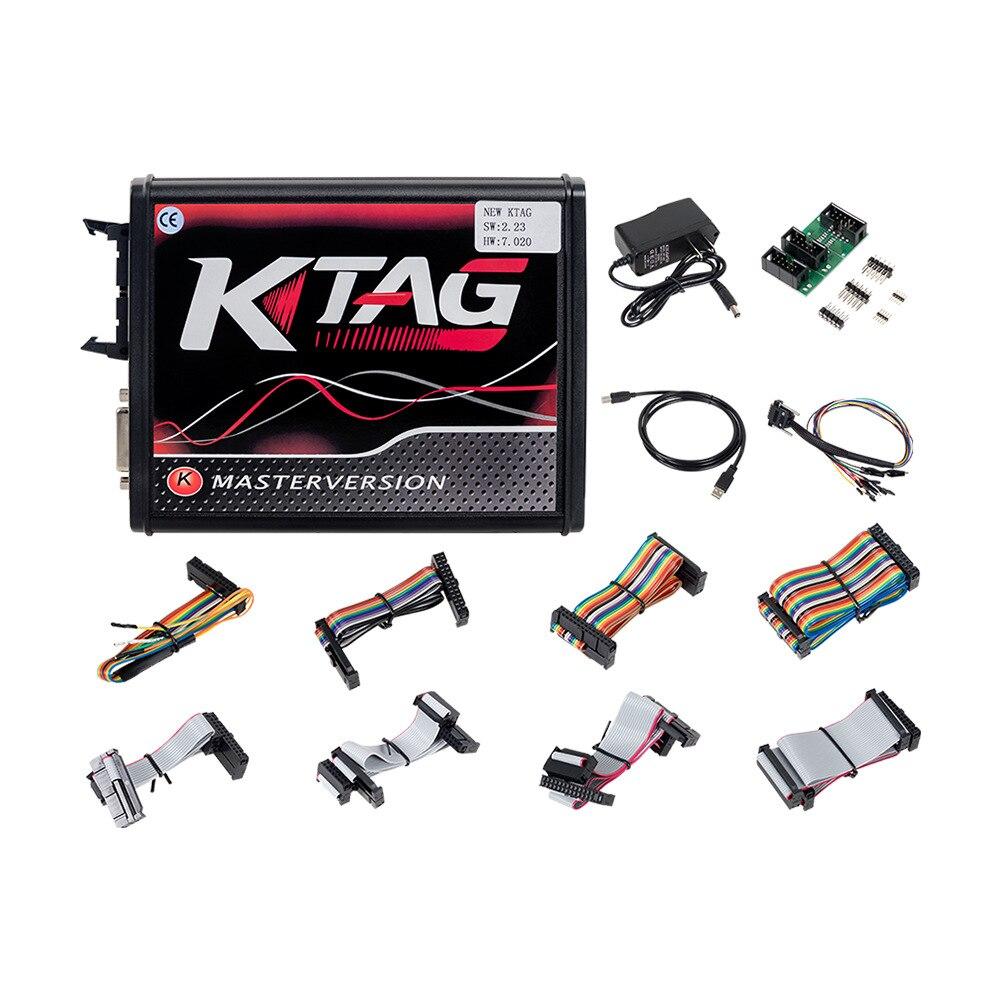 V 2,23 KTAG V 7,020 K-TAG Master EU Rot ECM Titan 4 LED Online Master Version BDM Rahmen fgtech ECU OBD Lkw Programmierer