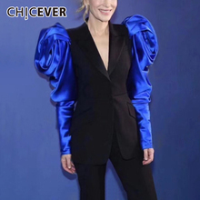 CHICEVER Patchwork Hit Color Women's Notched Blazer Puff Long Sleeve High Waist
