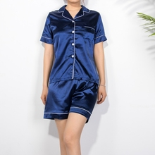 2020 New Spring Summer Women Faux Silk Pajamas Set Simple Pu