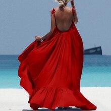 Boho Maxi Dress Women Spaghetti Strap Backless Long Dress 2019 Sexy Summer Party Bohemian Beach Dresses Vestidos Robe Femme цена