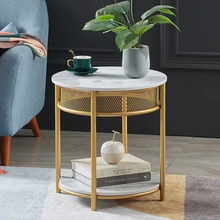 Nordic living room storage small round table simple double layers marble sofa corner coffee table luxury tea table