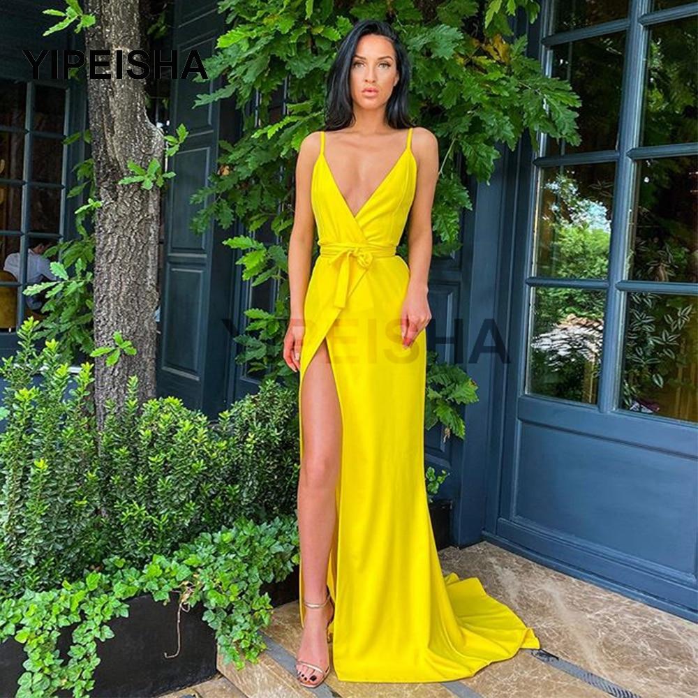 Элегантный желтый с Высоким Разрезом Длинное Вечернее Платье на тонких бретелях с поясом-бантом, со шлейфом, сексуальное нижнее белье с глубоким v-образным вырезом Клубные вечерние платья