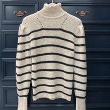 Полосатый свитер с воротником-хомутом для женщин, Свободный пуловер с пышными рукавами, Женский трикотажный пуловер