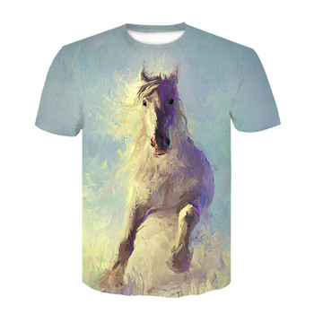 2021 summer hot sale O-neck headband horse T-shirt 3d slim-fit T-shirt for men and women animal clothing plus size T-shirt 1