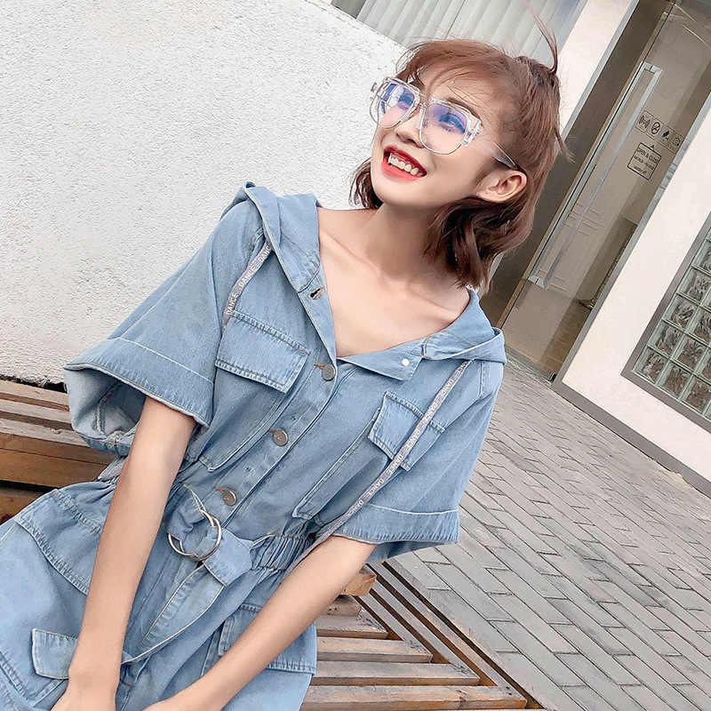 Cap Womens Summer Overalls For Women Bandage Jumpsuit Combinaison Short Femme Loose Denim Playsuits Blue XS-XL