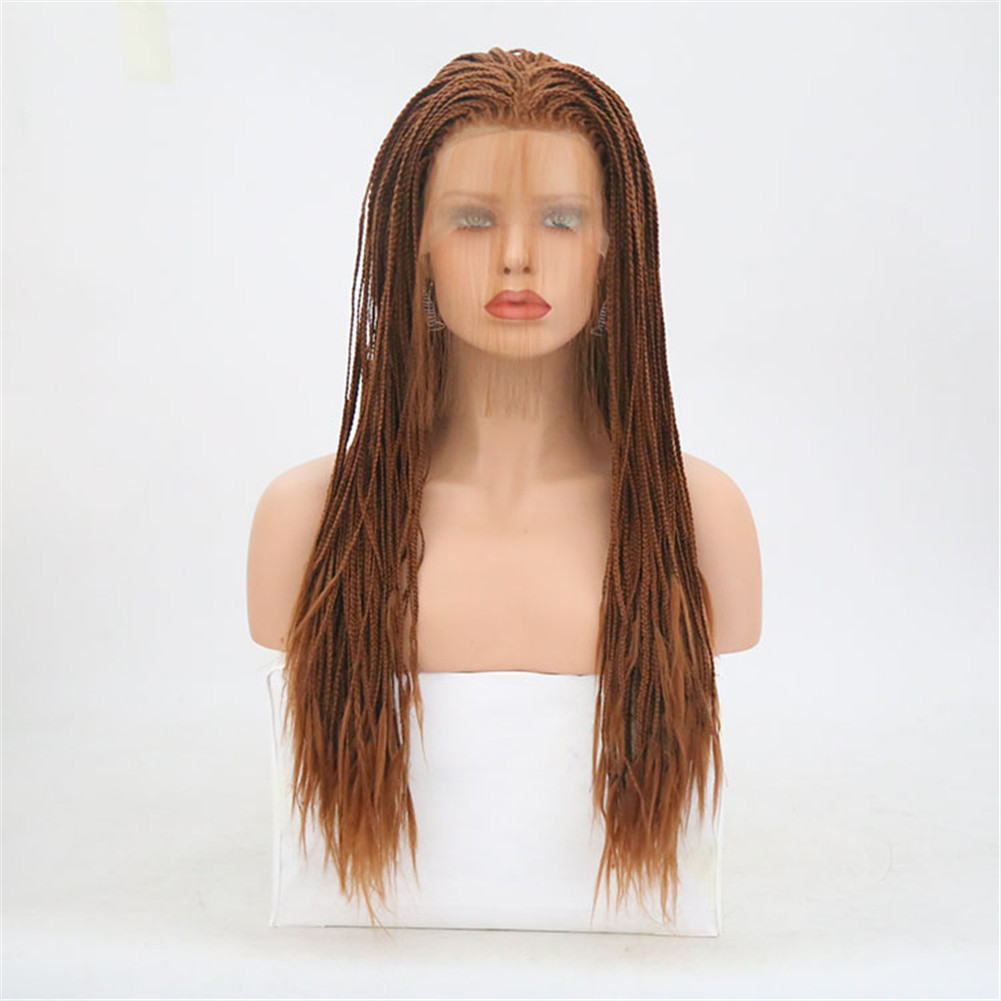 Rongduoyi Heat Resistant Synthetic Lace Front Braided Wigs For Women Brown/Black Color Long Braids Cosplay Wig With Baby Hair