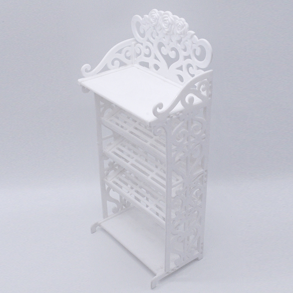 Plastic 5 Layers White Doll Shoes Rack Dollhouse Furniture Accessories for Barbie Doll Kids Toy