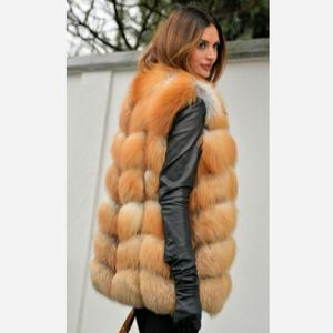 Image 4 - Womens new red fox fur vest natural fox fur real fox fur short vest casual fashion warm autumn and winter European street style