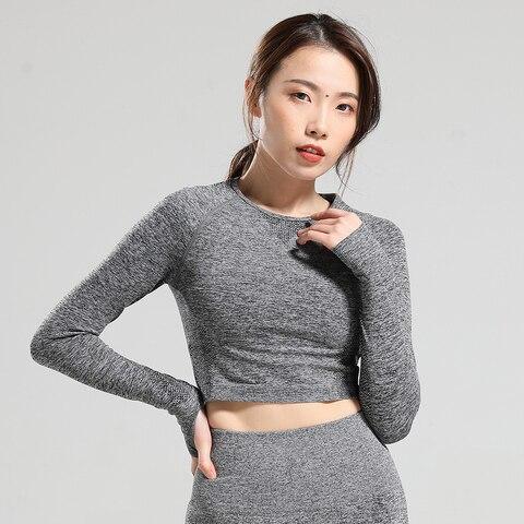 Vital sem Costura Camisas de Manga Wear para Mulher Esporte Longa Camisa Feminina Colheita Superior Yoga Camiseta Treino Topos Esportes Ginásio Fitness