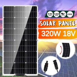 320W Semi-flexible Solar Panel 18Volt Monocrystalline Solar Cell for Car Yacht Light RV Boat Water Pump Outdoor Battery Charger