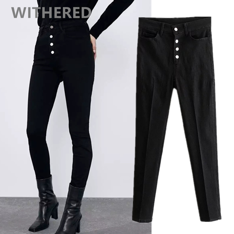 Withered England Vintage AA Black Jeans Woman High Waist Jeans Single Breasted Push Up Supper Skinny Sexy Jeans For Women